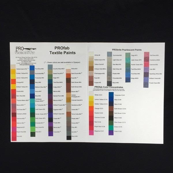 PROfab Textile Paint Color Card