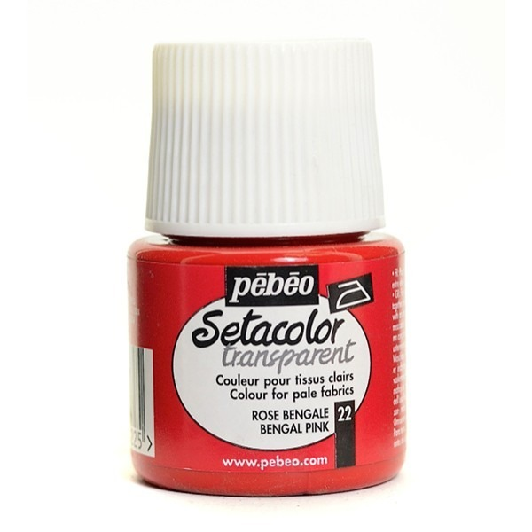 Pebeo Setacolor Transparent Paints | CLEARANCE: PST22 Bengale Pink - 45 ml.
