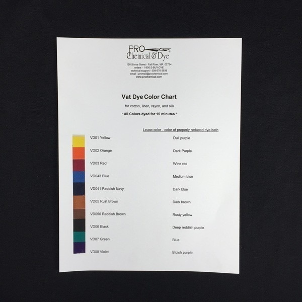 Vat Dye Color Card